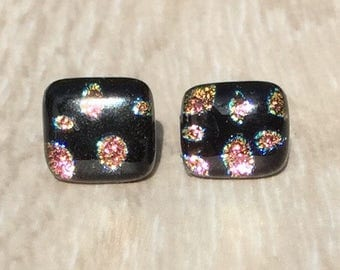 Dichroic Fused Glass Stud Earrings - Pink and Yellow Dot Dichroic Glass Stud Earrings with Sterling Silver Posts