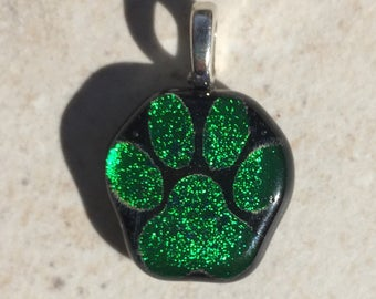 Dichroic Fused Glass Pendant - Green Dog Paw Laser Engraved Etched Pendant