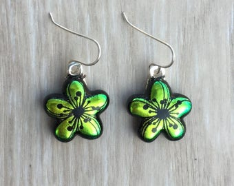 Dichroic Fused Glass Earrings - Green Yellow Plumeria Flower Laser Engraved Etched Earrings with Solid Sterling Ear Wires