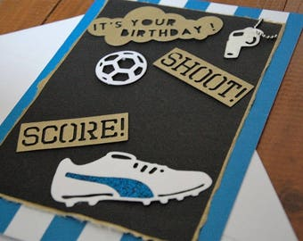 """Hand made birthday card, large 8""""x6"""" A5 format. CHOOSE COLOR Football theme for any soccer fan. Can be made to ANY team colors."""