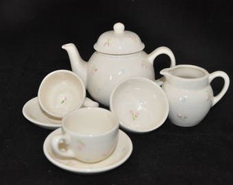 Miniature China Tea Set with delicate rose bud pattern