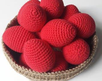 Crochet Red Easter eggs, Häkeln Ostereier