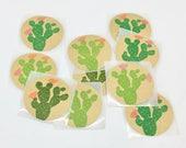 Stickers cactus, autocollants cactus,stickers kraft, stickers ronds, étiquettes cactus, imprimé à la main, lot de 10