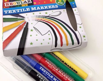 5 pens for textile Green Black yellow red and blue