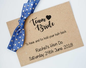 Personalised Team Bride Wristbands. Hen Party Hair Ties. Hen Do Hair Band. Hen Party Favour. Hen Party badges