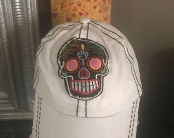 Baseball Cap with dias de los muertos skull. Women's cap, women's hat, women's baseball cap.