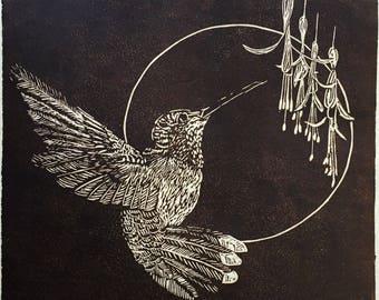 Hummingbird, Printmaking, Linocut, Nature, Fine art, Handmade, Wall Art