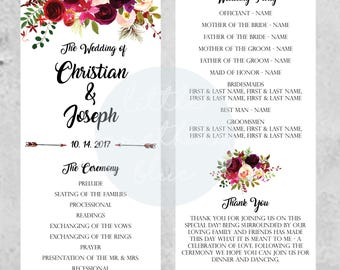 Floral Wedding Ceremony Program // Wedding Program // Custom // Digital Download // Printable