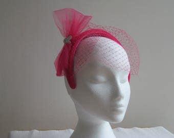 Vintage Inspired Pink Velour Headband
