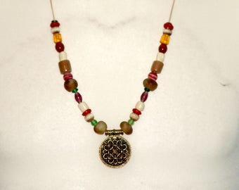 Necklace, Haithabu, amulet, bronze, glass beads, leg beads, Viking, replica, Reenact, Middle Ages, Larp