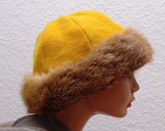Mütze, Mittelalter, Wikinger, Rus,Fell Fuchs echt, Gr.60, Wolle pflanzengefärbt, Leinen