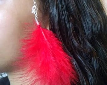 Red Feather Hair Clip Extension Barrette Silver Feather Hair Clip Barrette