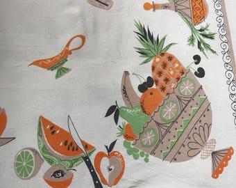 1950s Linen Tablecloth