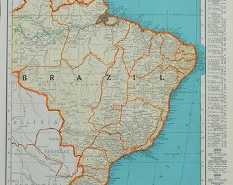 1942 Brazil Map - Vintage Map - Mid Century Map - Antique Brazil Map - Vintage Brazil Map - South America Map - Maps - 32/070817