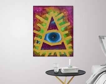 Original Acrylic Painting, All seeing Eye  , 12x16 painting, acrylics on canvas. Print, wall art, Fine art