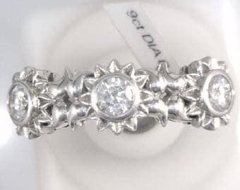 Three Stone Diamond Ring in 9 Carat White Gold