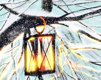 Hanging Lantern On A Snowy Day