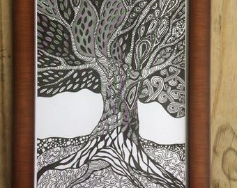Zentangle Inspired Tree - ART PRINT