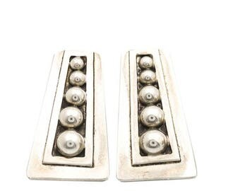Taxco Mexico Moderist Sterling Silver Clip On Earrings