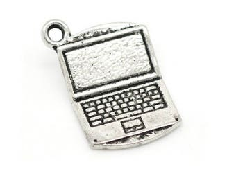 Set of 4 charms computer geek Silver (B64)