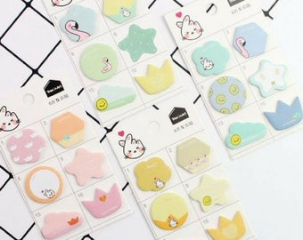 2 Pc Kawaii Give you a Heart Mini Sticky Notes ~ Cute Memo Pad Notebook, Stationery, School Supplies, Office Supplies, DIY Collage Scrapbook