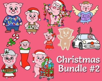 Christmas Bundle #2 - Oinkers Celebrates Christmas - Christmas Stickers - Planner Stickers - This Little Piggy Plans - Holiday Stickers