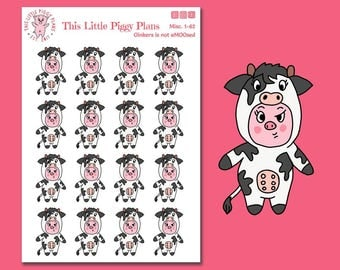 Oinkers is Not aMOOsed - Cow Planner Stickers - Pig Stickers - Annoyed - Unimpressed - Farm Animals - This Little Piggy - [Misc. 1-62]