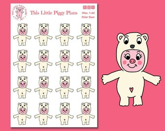 Polar Bear Oinkers - Polar Bear Planner Stickers - Winter Planner Stickers - Winter Animals - Pig Stickers - This Little Piggy -[Misc. 1-60]