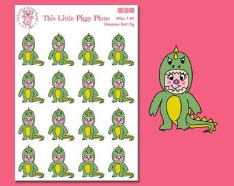 Dinosaurs Roar! Dino Suit Oinkers - Dinosaur Planner Stickers - Dino Stickers - Dinosaurs - Character Stickers - Pig Stickers - [Misc. 1-85]