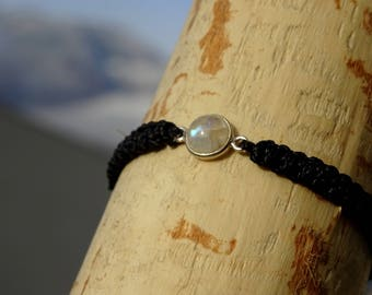 Moonstone Macrame & 925 sterling silver bracelet
