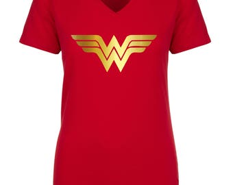 Wonder Woman Shirt,Running Top,Wonder Woman Marathon with Gold  WW Logo ,Women's V Neck, T- Shirt / Wonder Women Tee