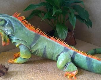 iguana in papier mache