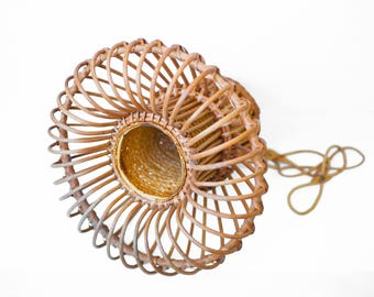 Lampshade / pendant given vintage Wicker / mid century