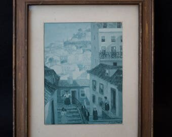 picture frame wood - Mediterranean village of era - ton - signed by the artist - home decor - wall decor