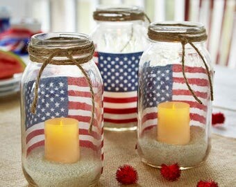 American flag mason jar votive holders