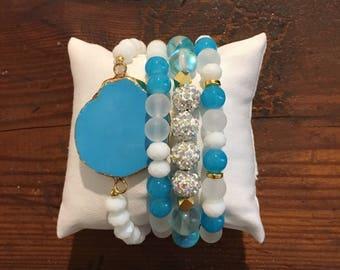 Light blue and gold gemstone bracelet set