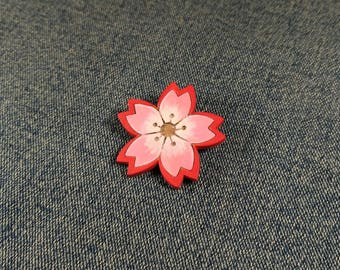 Flower pin. Pink flower brooch. Wooden flower brooch. Flower Sakura pin. Wooden flower jewelry. Teacher gift. Flower badge. Floret pin.