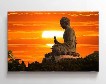 Large Wall Art Great Buddha Statue at Sunset Canvas Print