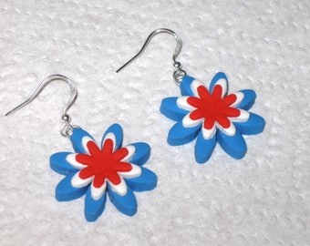Patriotic Flower Earrings,Patriotic Earrings,Red White Blue Earrings,Silver Earrings,July 4th Earrings,Memorial Day Earrings,Flower Earrings
