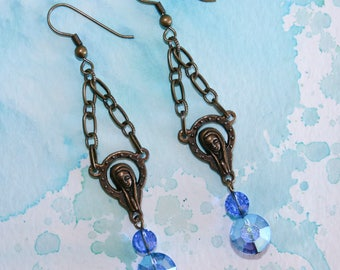 Mother Mary Blue Crystal Earrings