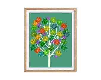 "Autumn Maple tree illustration 21 x 29.7 cm / 8.2 x 11.69"""