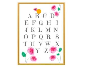 Alphabet Poster, Abc Poster, Woodland Nursery Wall Art, Alphabet Wall Art, Woodland Nursery, Nursery Print, Alphabet 21 x 29.7 cm