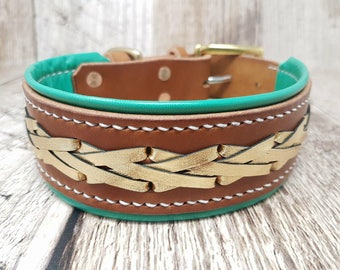 Lined and laced Classic Buckle Leather Dog Collar - 1 1/2'' (X-Large)