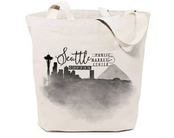 Cotton Canvas Seattle Cityscape, Beach, Shopping and Travel Reusable Shoulder Tote and Handbag, Farmers Market, Gifts, Travel Souvenir