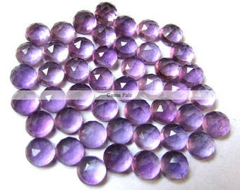 10 pieces 5mm Amethyst rosecut round cabochon gemstone - Wholesale Natural Amethyst rose cut cabochon round loose gemstone Amethyst Cabochon