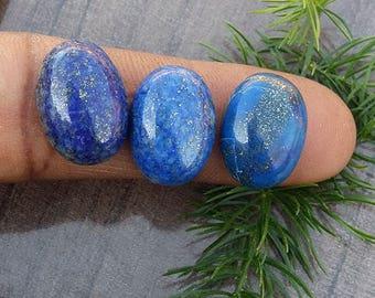 34.40 Carat 3 Piece Natural Lapis Lazuli Loose Cabochon Stone Jewelry Supplies, Oval Cabochon Lapis Lazuli Gemstone Back Flat
