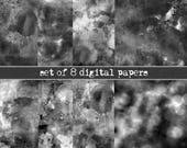 Watercolor textures black and white, Dark photoshop overlays set of 8 digital paper black, Scrapbooking paper black, INSTANT DOWNLOAD, bokeh