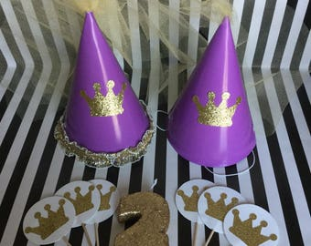Princess Birthday Hats, Candles, and Cupcake Toppers