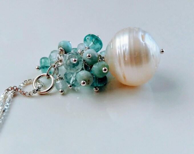 Large white South sea pearl pendant, aquamarine, larimar, Apatite cluster pendant. Made to order. South sea white pearl. Apatite gemstones
