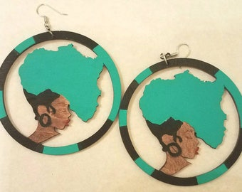Round Africa Girl Hair Earrings